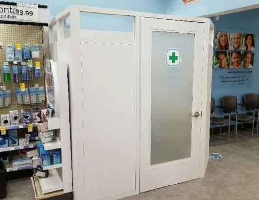 health care fixture, patient health room, HealthHUB, screening room