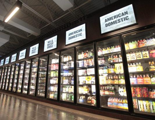 wood fixtures, retail display, signage, liquor display