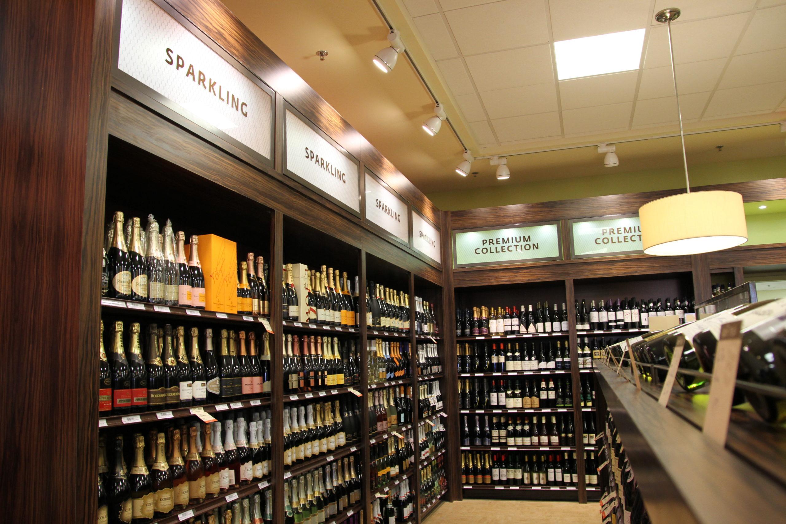wine display, wood fixtures, retail display, signage, liquor display