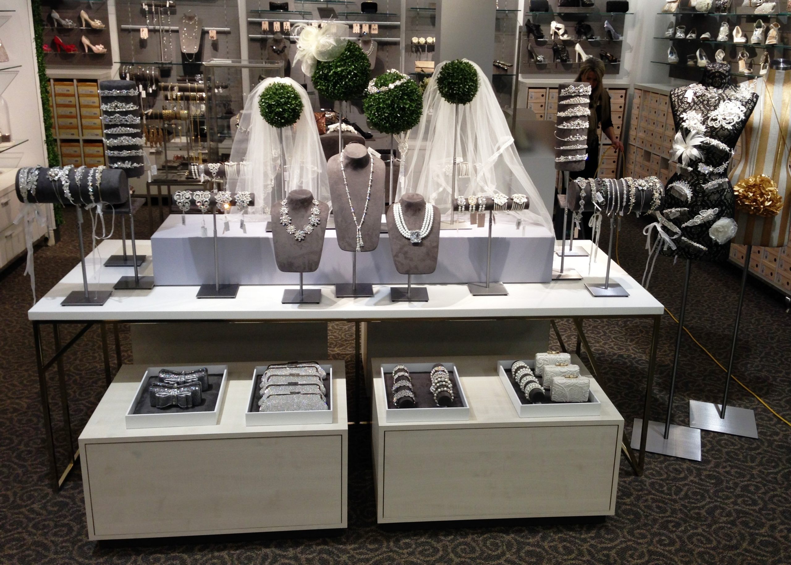 bridal fixture, dress display, nested table