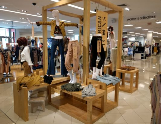 wood display, wood fixture