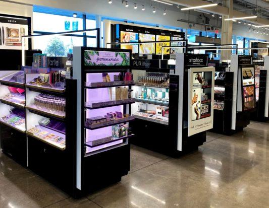 beauty fixtures, Gondola Shelving, retail store fixtures, Wall Displays, Freestanding Displays